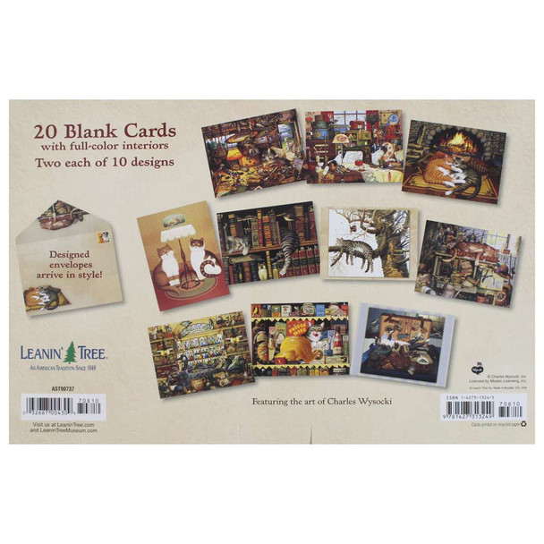 Charles Wysocki Cat Tales Greeting Card Assortment - 20 cards: Back View