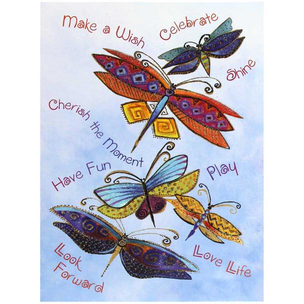Laurel Burch Birthday Card - Dragonflies: Front View