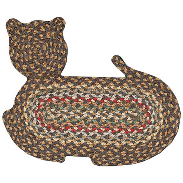 """Braided Cat Shaped Jute Rug 14.5""""x19.5"""" CT- 051 Tan/Green/Gold/Red"""