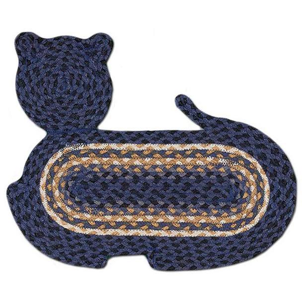 "Braided Cat Shaped Jute Rug 14.5""x19.5"" CT-079 Blue/Black/Gold/White"