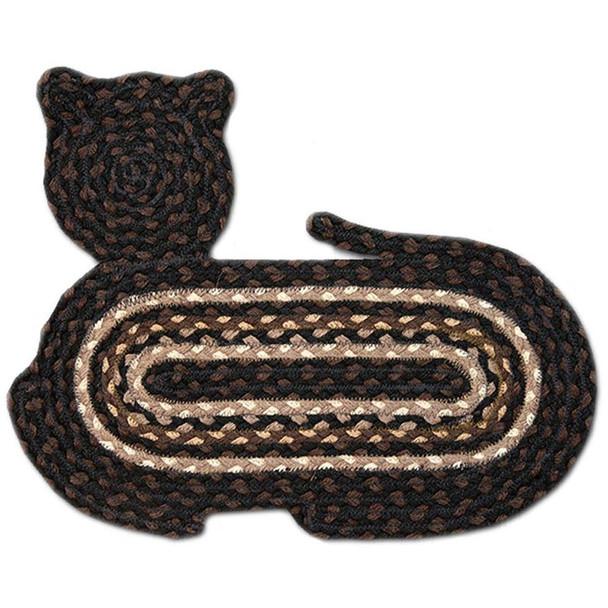 "Braided Cat Shaped Jute Rug 14.5""x19.5"" CT-313 Black/Brown/Tan/White"