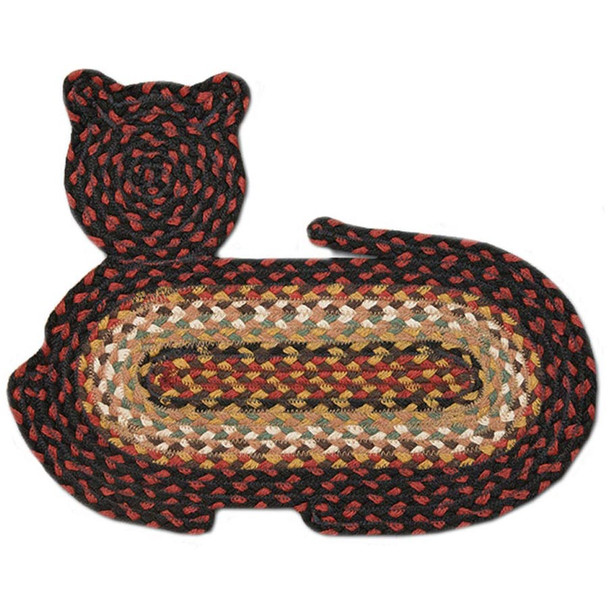 """Braided Cat Shaped Jute Rug 14.5""""x19.5"""" CT-319 Red/Black/Gold/Green"""