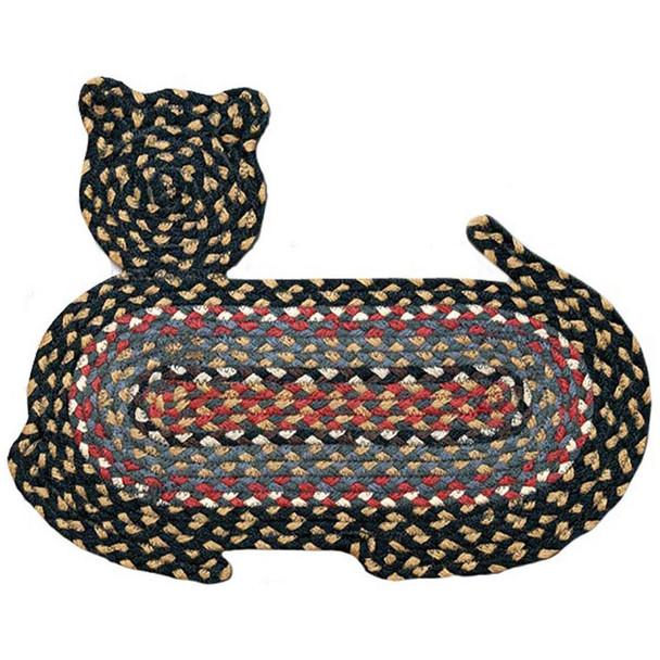 "Braided Cat Shaped Jute Rug 14.5""x19.5"" CT-043 Black/Tan/Red/Blue"