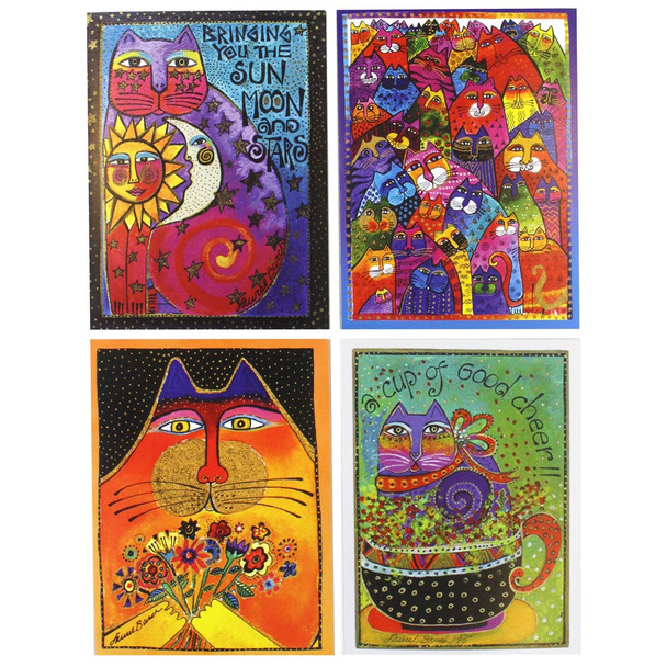 Laurel Burch Happy Birthday Cards 4 Pack Box ASN34632-4PK