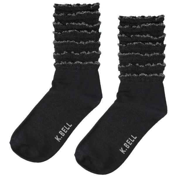 Shimmery Silver Stripe Ruffle Black Socks - 14H008-01