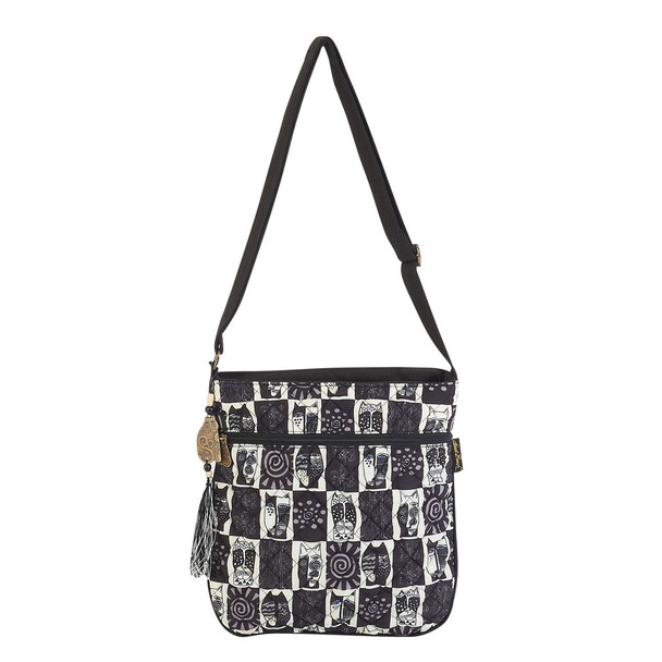 Laurel Burch Black White Wild Cats Crossbody Tote - LB5992