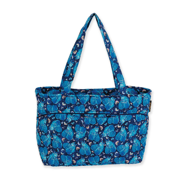 Laurel Burch Indigo Cats Quilted Cotton Medium Shoulder Tote - LB6317