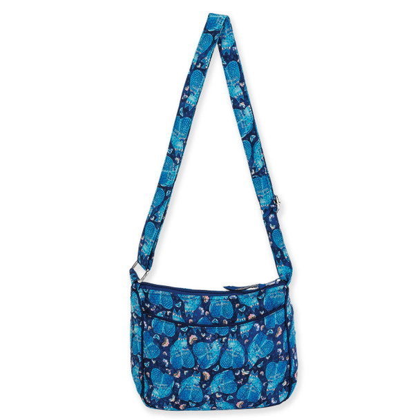 Laurel Burch Indigo Cats Quilted Cotton E/W Crossbody Bag LB6324