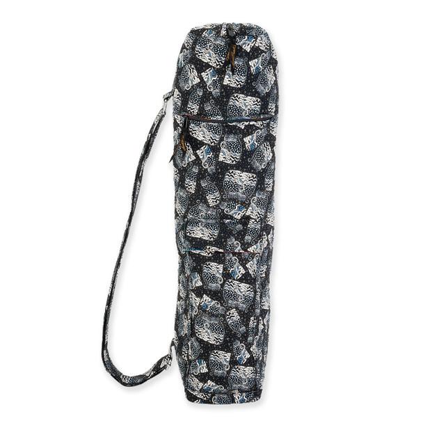 Laurel Burch Black White Polka Dot Wild Cats Quilted Cotton Yoga Bag LB6337