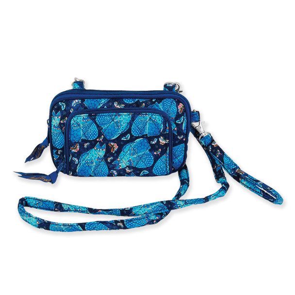 Laurel Burch Indigo Cats Quilted Cotton All in One Crossbody Bag LB6326