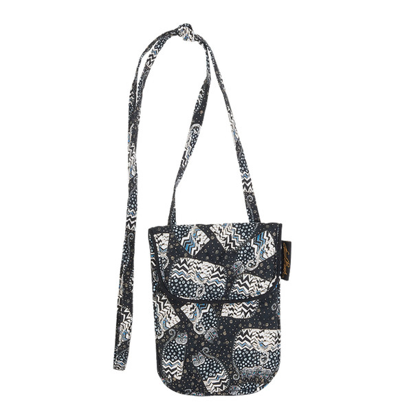 Laurel Burch Black White Polka Dot Wild Cats Quilted Cotton Small Flapover Crossbody Bag LB6342