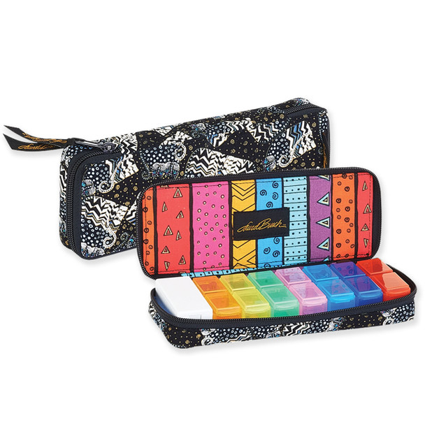 Laurel Burch Black White Polka Dot Wild Cats Quilted Cotton 7 Day Pill Organizer Bag LB6343
