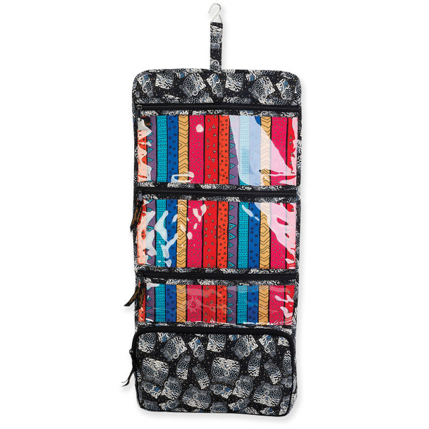 Laurel Burch Black White Polka Dot Wild Cats Quilted Toiletry Organizer Bag LB6344
