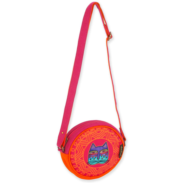 Laurel Burch Feline RED Round Crossbody Tote - LB6190A