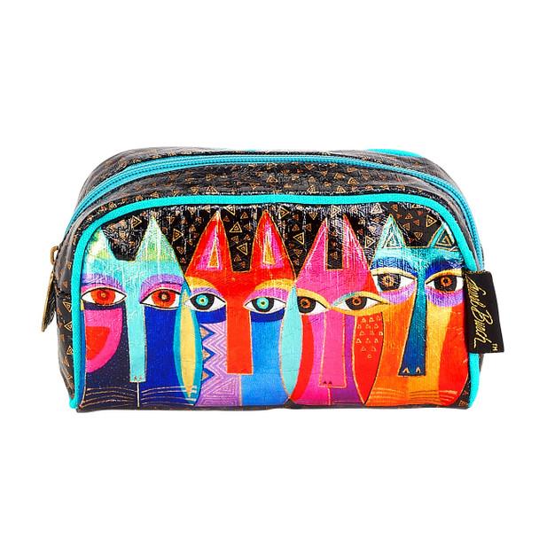 Laurel Burch Tribal Feline Cats Foil Cosmetic Bag LB6210E