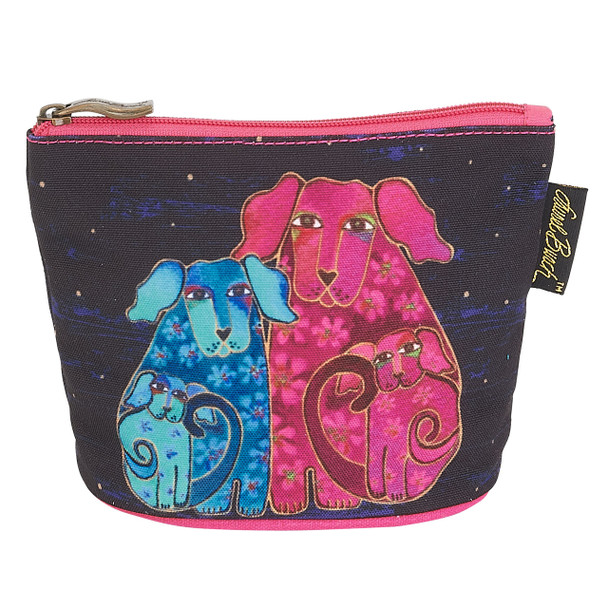 Laurel Burch Dog Cotton Canvas Cosmetic Bag Blossom Pups - LB6300B