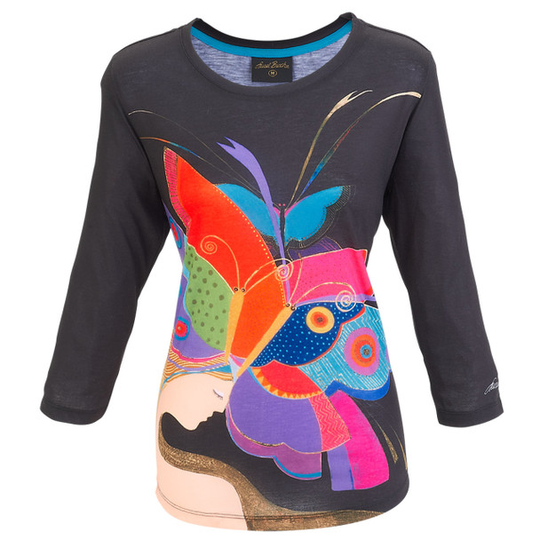 Laurel Burch 3/4 Sleeve Tee Shirt Summer Nights LBT050