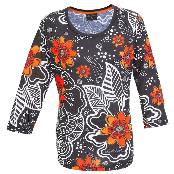 Laurel Burch 3/4 Sleeve Tee Shirt White on Black Florals LBT049