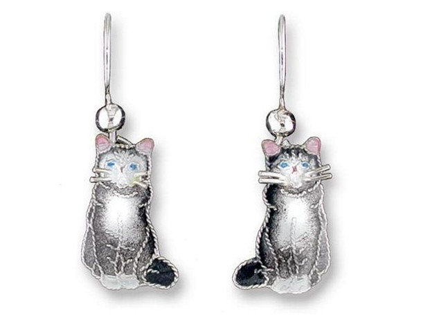 "Cat Sterling Silver Drop Earrings ""Gray & White"" - 196501"