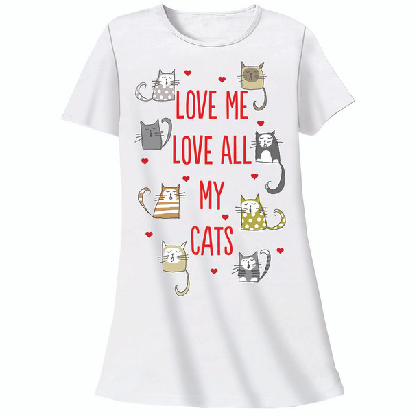 "Cat Theme Sleep Shirt Pajamas ""Love All My Cats"" 326OT"