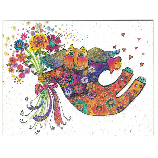Laurel Burch Rainbow Angel Cat Small Card Glitter Friend - Front Cover