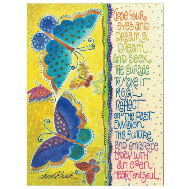 Laurel Burch Glitter Birthday Card - Butterfly Dream - Front