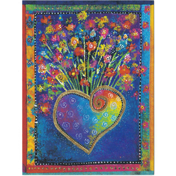 Laurel Burch Birthday Card - Blossoming Heart Flowers 20666