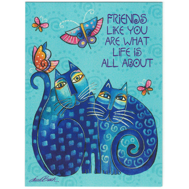 "Laurel Burch Friendship Glitter Card ""Blue Cats"" - Front"