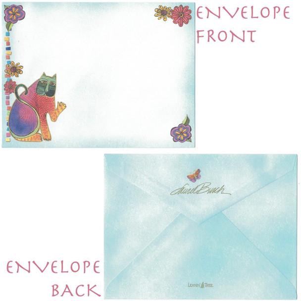 "Laurel Burch Friendship Glitter Card ""Blue Cats"" - Envelope"