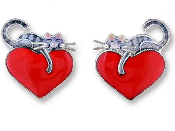 Cat Sterling Silver Post Earrings by Zarah Kitty Love - 214291