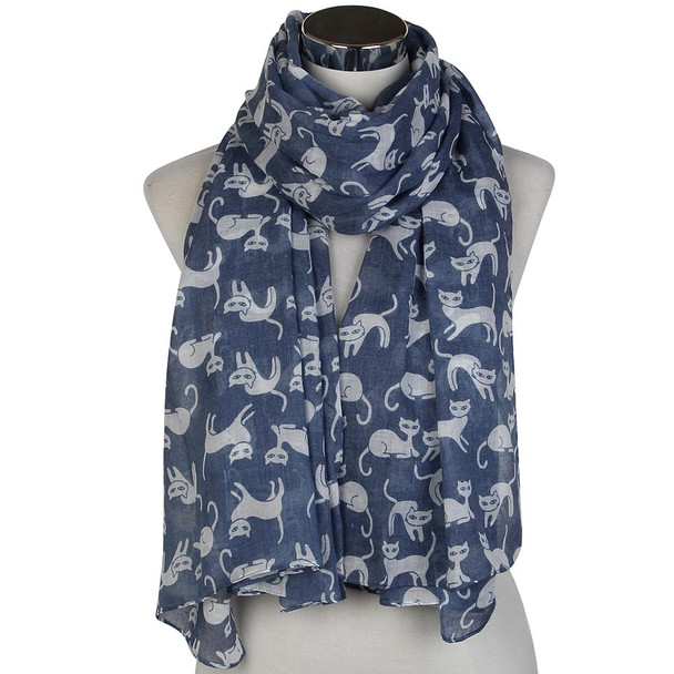 Blue and White Cats Scarf