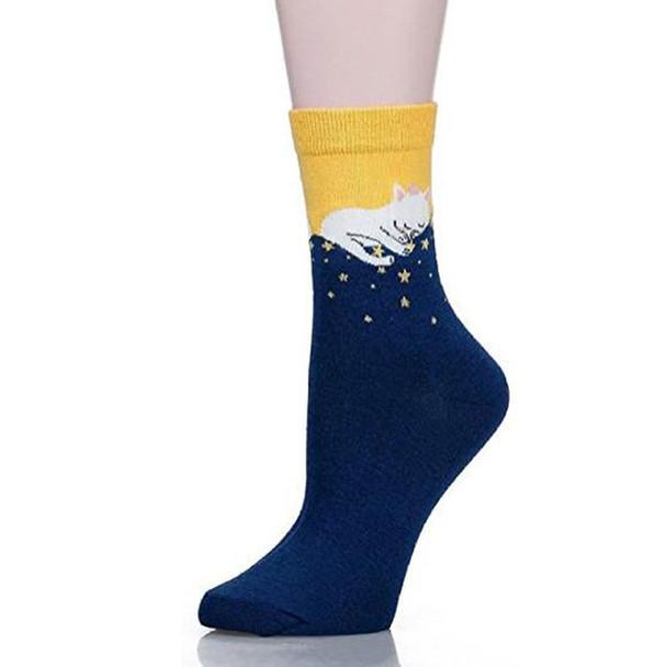 Sleeping Kitty with Stars Socks - CC118
