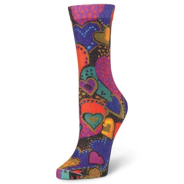 Laurel Burch Hearts Crew Socks LBWS18H007