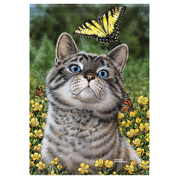 Butterfly Cat Garden Flag 46476