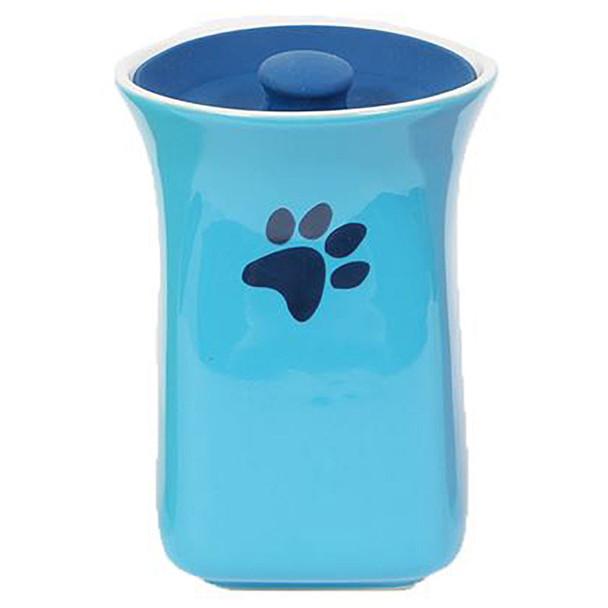 Blue Ceramic Treat Jar with Silicone Lid 40247B