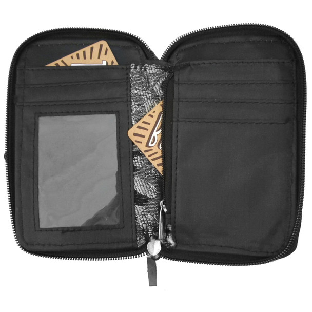 Black White and Silver Leopard Cell Phone Wallet