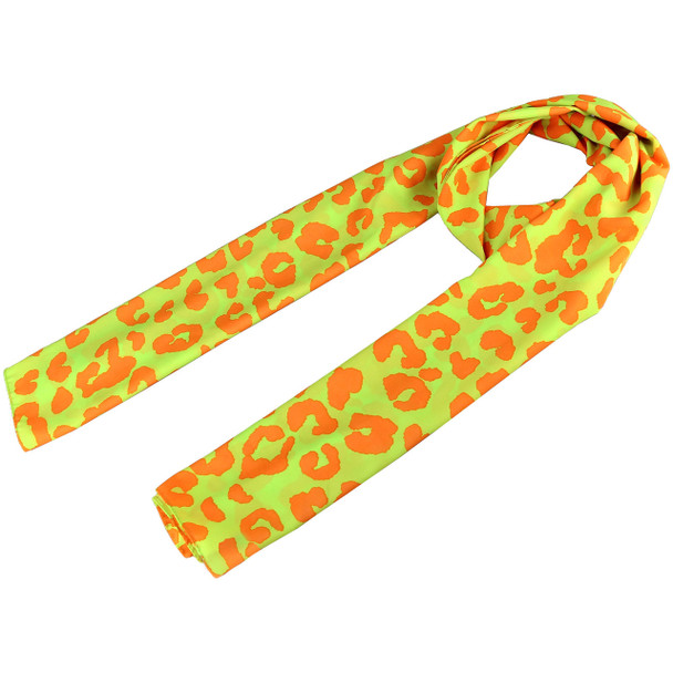 Orange and Neon Yellow Leopard Pattern Scarf - 53079