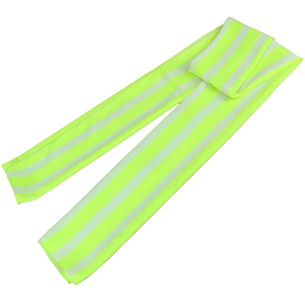 White and Neon Yellow Stripe Scarf - 53081
