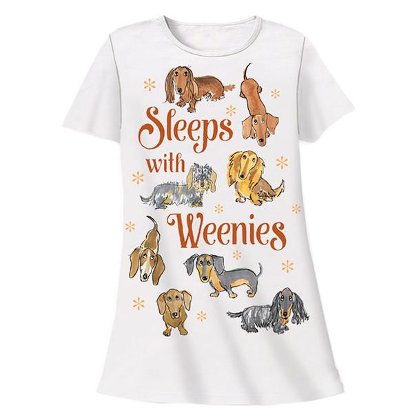 Sleeps with Weenies Dachshund Theme Sleep Shirt Pajamas