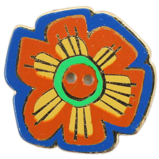 Orange Flower with Yellow and Green on Blue Background Button - Laurel Burch - Dill Button