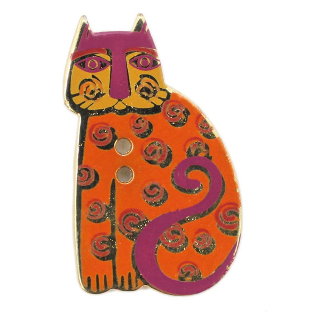 Cat with Orange Swirls, Laurel Burch Gold Metal Button - Dill Button