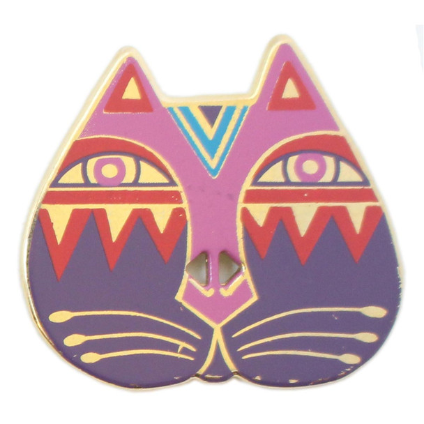 Laurel Burch Button - Cat Face with Pink Red and Purple - Dill Goldtone Metal Button