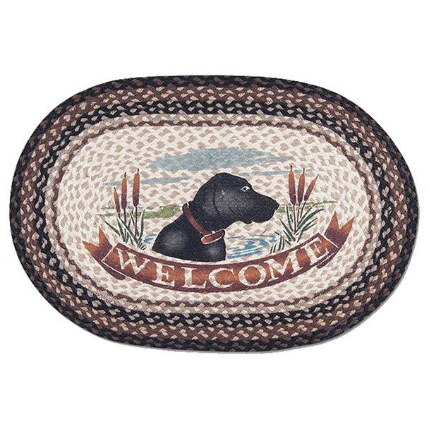Dog Welcome Mat - Hand Printed Oval Braided Floor Rug OP-313
