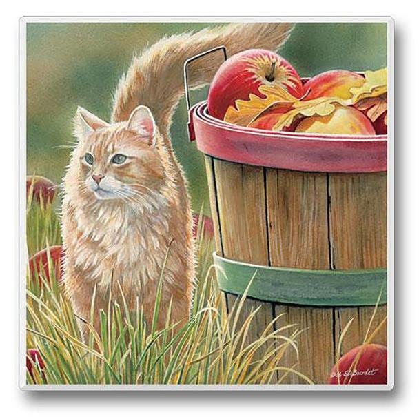 Cat enjoying a Fall Day - Single Cat Stone Coaster