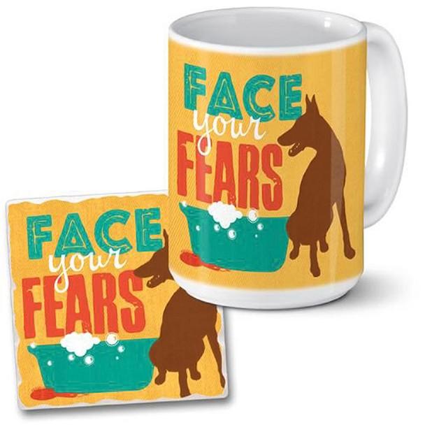 Dog Coffee Mug and Coaster Set - Face your Fears 06-094