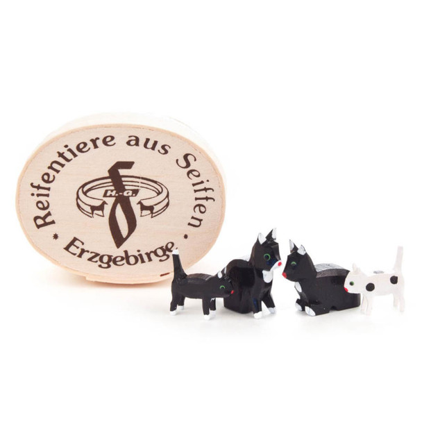Wooden Mini Black and White Cats Figurine - 4 Piece Set - Comes with Box