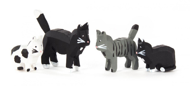 Hand Carved Wooden Mini Cats Figurine - 4 Piece Set
