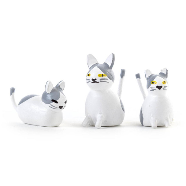 Hand Carved Wooden Mini Cats Figurine - 3 Piece Set