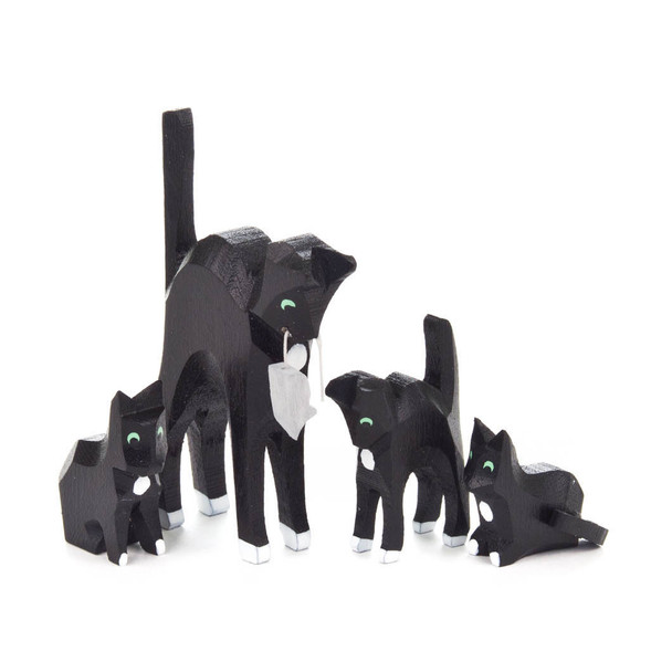 Hand Carved Mini Cat Family Figurine - 4 Piece Set