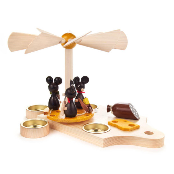 Mice and Cheese German Pyramid. This is one of the most unique pieces we've ever carried! Mice circling the cutting board